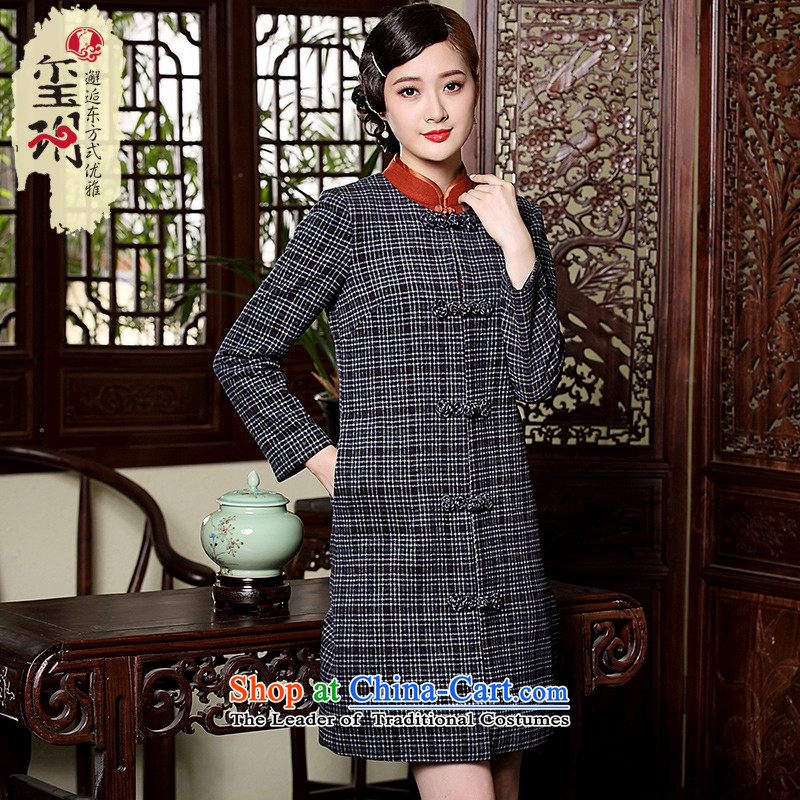 The seal of the autumn and winter 2015 New Tang jackets retro Chinese wind-up long-sleeved detained? ethnic gross windbreaker gray?XL