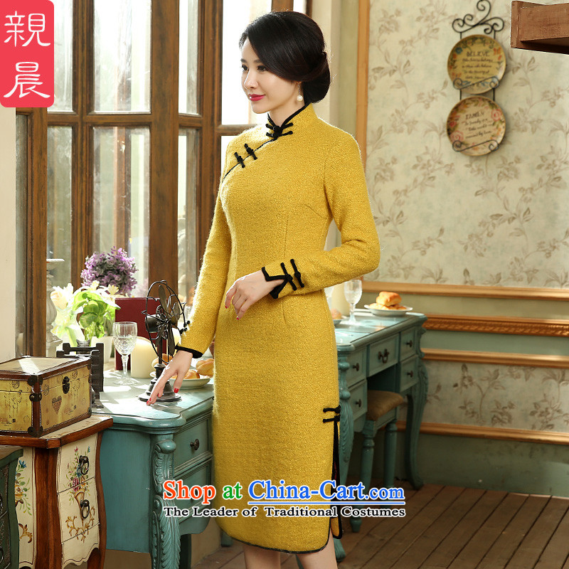 The cheongsam dress autumn and winter 2015 New Stylish retro-to-day wool gross? long-sleeved Ms. Sau San dresses Large Yellow�L