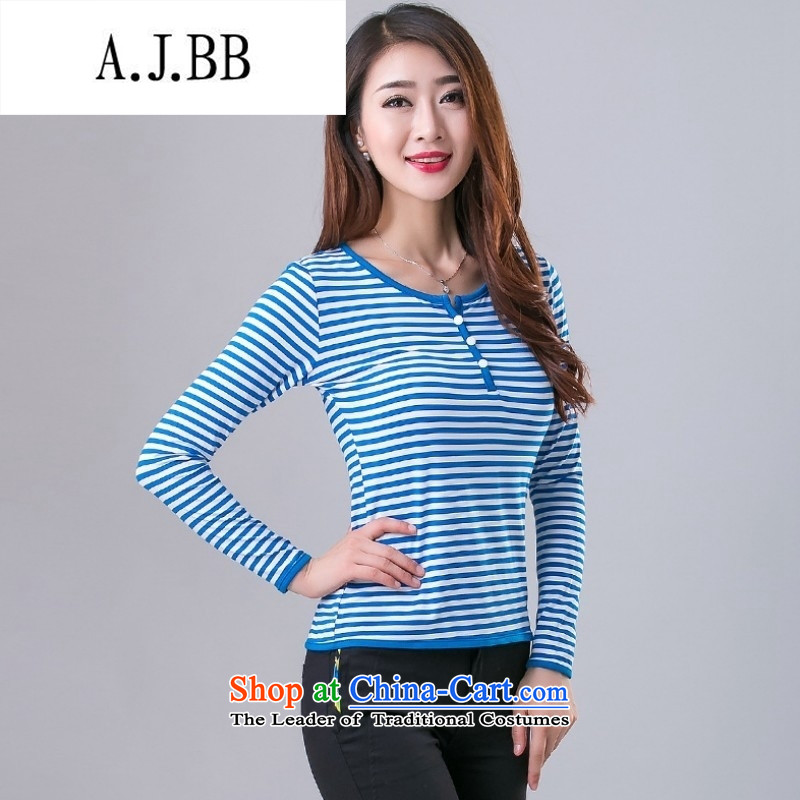Memnarch �� Connie Shop 2015 new autumn and winter, forming the basis of the Netherlands Ms. fashion Western Clothes long-sleeved T-shirt with blue and white stripes female Internet?XXXL