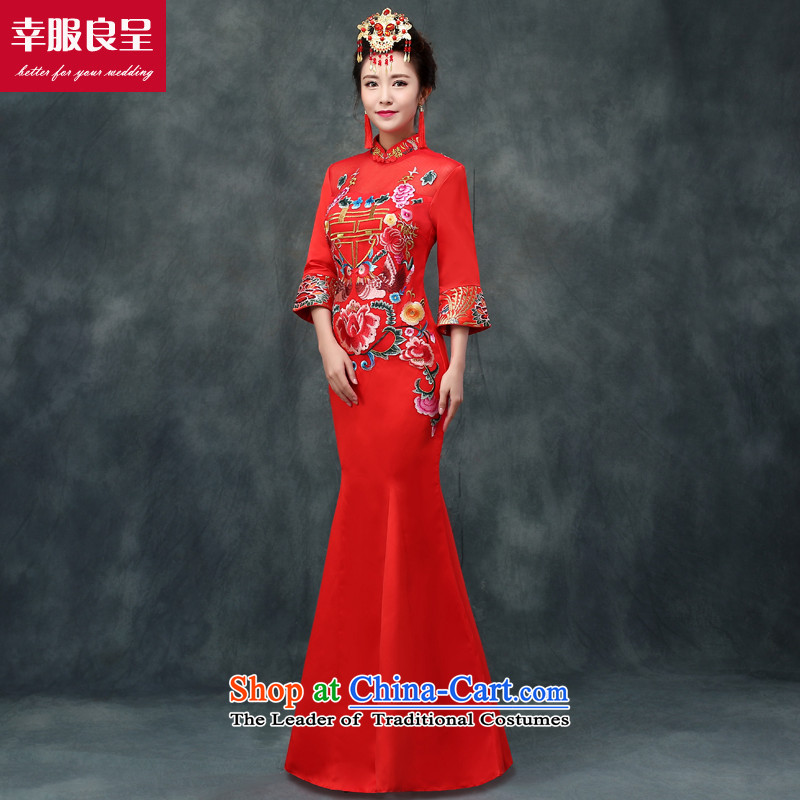 The privilege of serving-leung bows service bridal dresses red Chinese wedding dress large high fashion show long serving long-sleeved winter wo wedding dress qipao + model crowsfoot with 68 Head Ornaments燲L-- concept of province package for _10