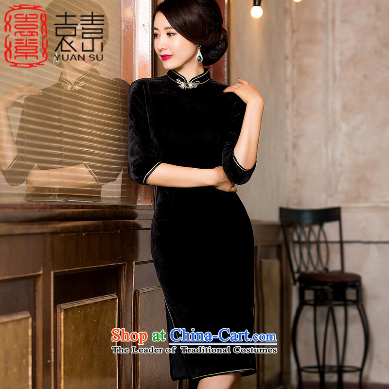 Yuan of being so velvet cheongsam Fall_Winter Collections of nostalgia for the stylish improved cheongsam dress cheongsam dress the new president in long?black?XXXXL HYS7021A