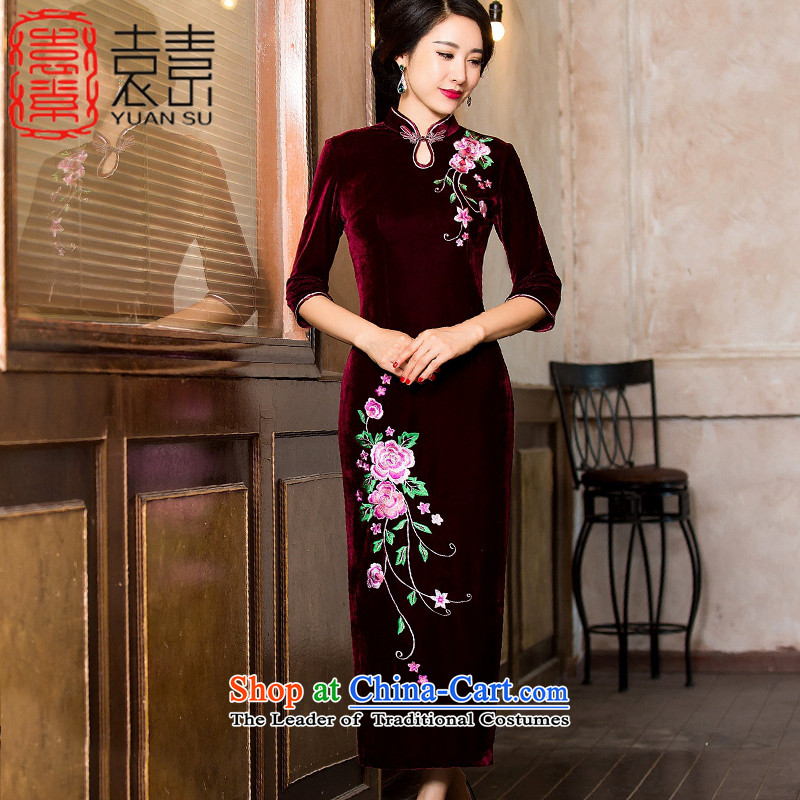 Mr Yuen is intended embroidery scouring pads long qipao Fall_Winter Collections retro style qipao skirt the new improved Ms. Banquet Chinese Dress燞YS7118燿ark red燣