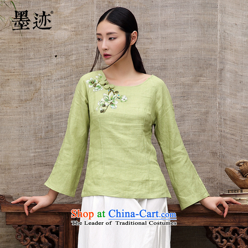 Ink 201 Spring New hand-painted original improved Tang Dynasty Han-T-shirt, forming the basis of ethnic Chinese women shirt green燤