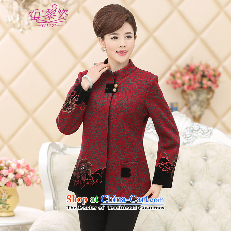 To the elderly in the Gigi Lai Women Fall_Winter Collections Tang jackets middle-aged moms with long-sleeved wool? a light jacket of older persons of ethnic costumes and red velvet燲XL