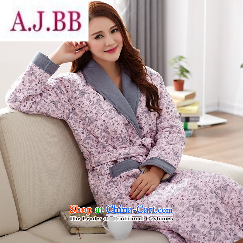 Ms Rebecca Pun and fashion boutiques of autumn and winter female robes long-sleeved pure cotton and cotton nighties thickened folder XL Lien Yi bathrobe homewear�03 XXL