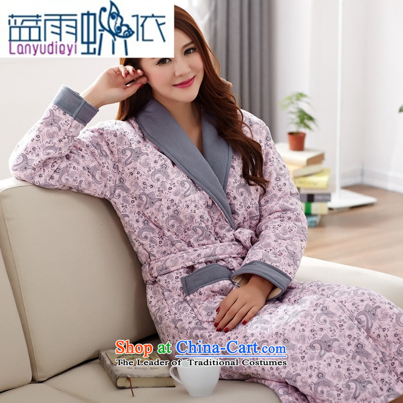 Ya-ting shops of autumn and winter female robes long-sleeved pure cotton and cotton nighties thickened folder XL Lien Yi bathrobe homewear�03 XL