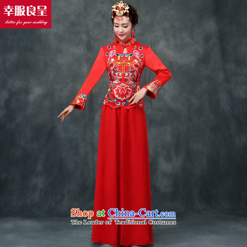 The privilege of serving-leung bows services red CHINESE CHEONGSAM wedding dress autumn and winter long-serving long-sleeved bride marry Wo Yi two kits cheongsam + model with 68 Head Ornaments燣