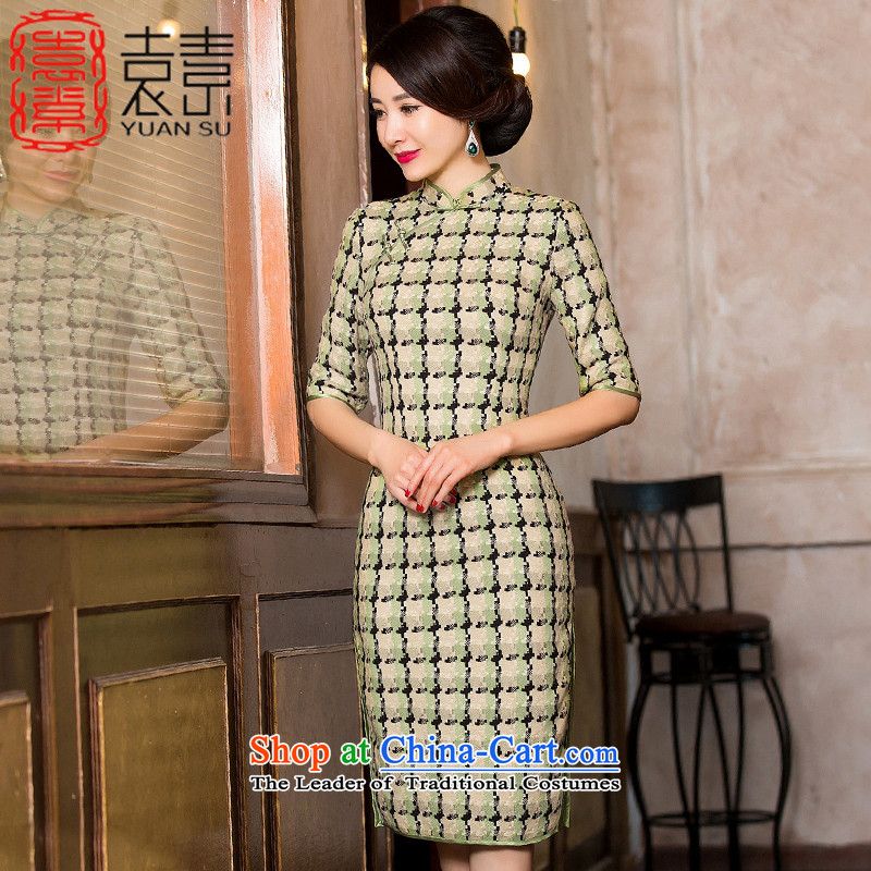 Yuan of stranded�15 wool grid for winter qipao? retro improved cheongsam dress stylish girl cheongsam dress new thick燞YM8101爂rid color燲XL