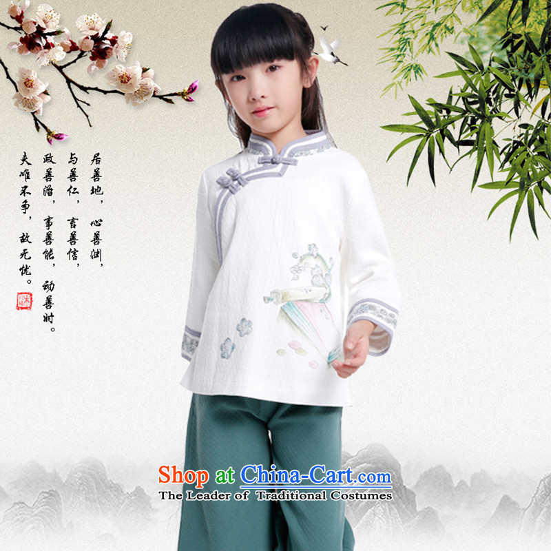 The girl with improved Han-chiu China wind Tang dynasty of ethnic Chinese women's cotton linen dresses shirt long-sleeved tea person牋Adult XL