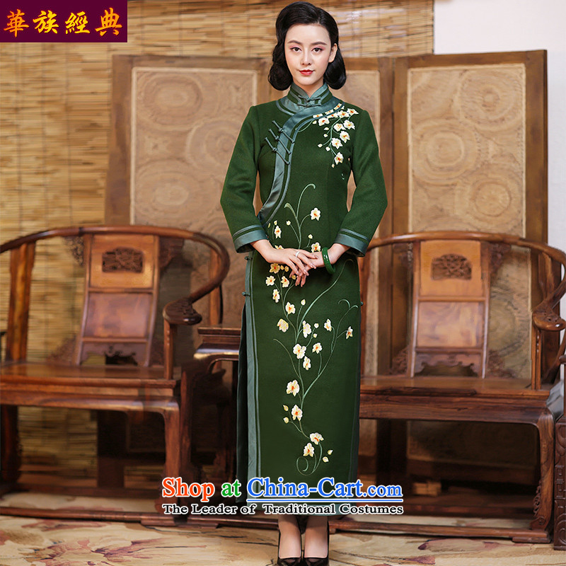 Chinese Classic double-side-long cheongsam dress 2015 new daily autumn and winter long-sleeved Sau San improved stylish and elegant Army Green - 15 days pre-sale燬
