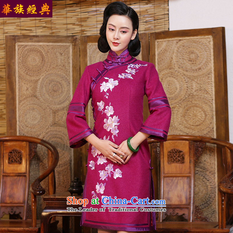 Chinese New Year 2015 classic ethnic improved daily embroidery gross is stylish qipao autumn and winter Ms. long-sleeved gown peach - the pre-chinese placing 15 days?L