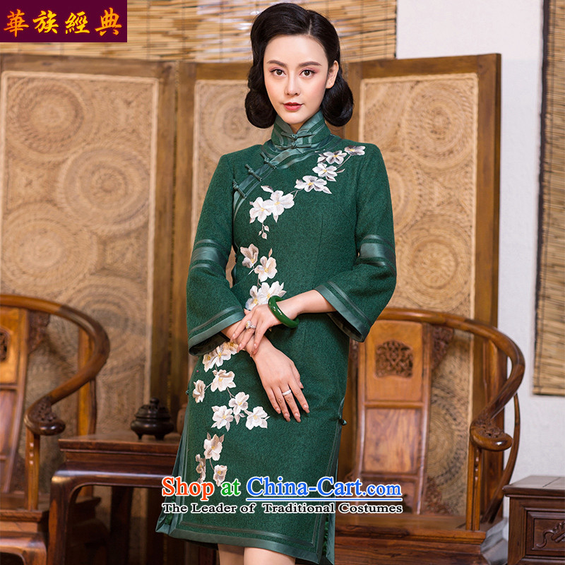 Chinese Classic long-sleeved embroidery about ethnic purge cheongsam dress 2015 new autumn and winter improved stylish Chinese Dress female cyan - 15 days pre-sale燲L