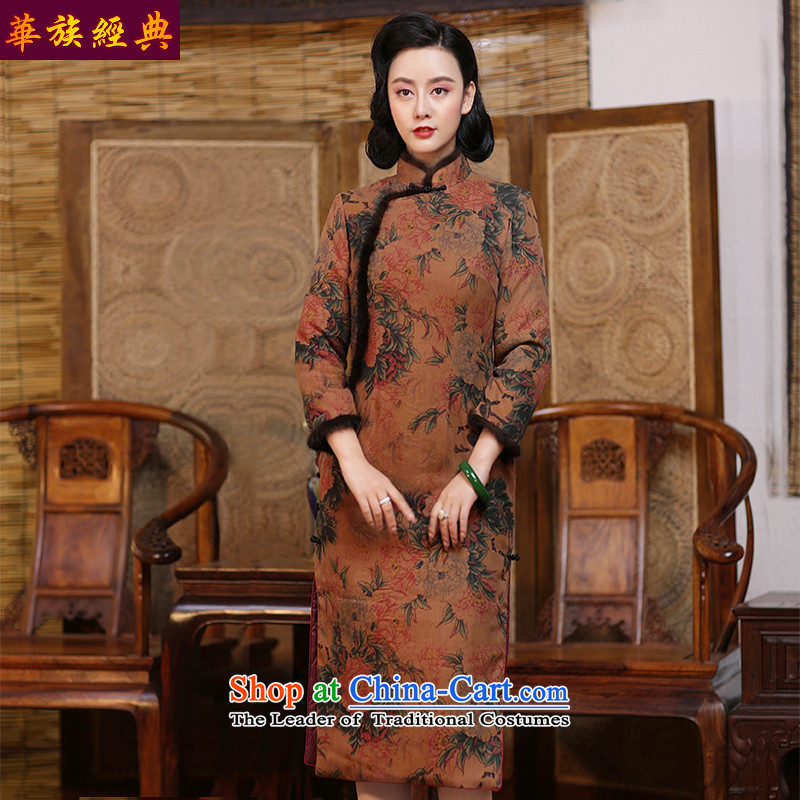 China Silk woven incense-classic cloud yarn winter cotton waffle long-sleeved qipao folder skirt retro improved stylish new 2015 - Pre-sale suit 15 days聽L