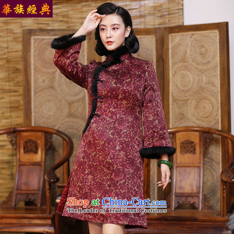 China Ethnic classic silk and cotton yarn folder cloud of incense thick long-sleeved daily Chinese cheongsam dress 2015 new autumn and winter suit - 15 days pre-sale燤