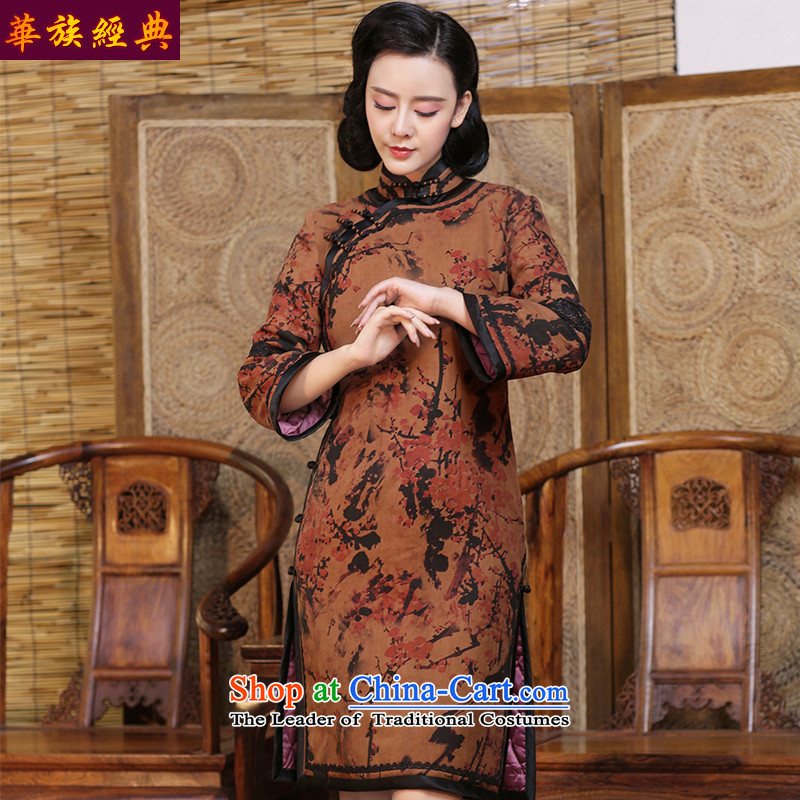 China Silk woven incense-classic cloud yarn daily cheongsam dress 2015 new autumn and winter long-sleeved cotton waffle robes of folder suit - 15 days pre-sale燤