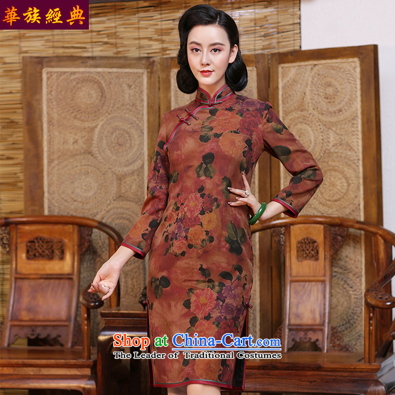 China Ethnic classic silk yarn-to-day long-sleeved cloud of incense cheongsam dress 2015 new autumn and winter stylish and elegant floral - Improved Sau San 15 days pre-sale燲L
