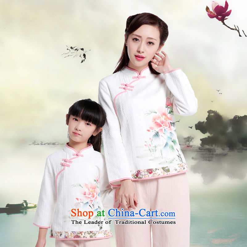 The new mother and 2015 replacing Tang blouses kidswear National Autumn Chinese boxed hand-painted cotton linen parent-child replacing adult爏 155cm