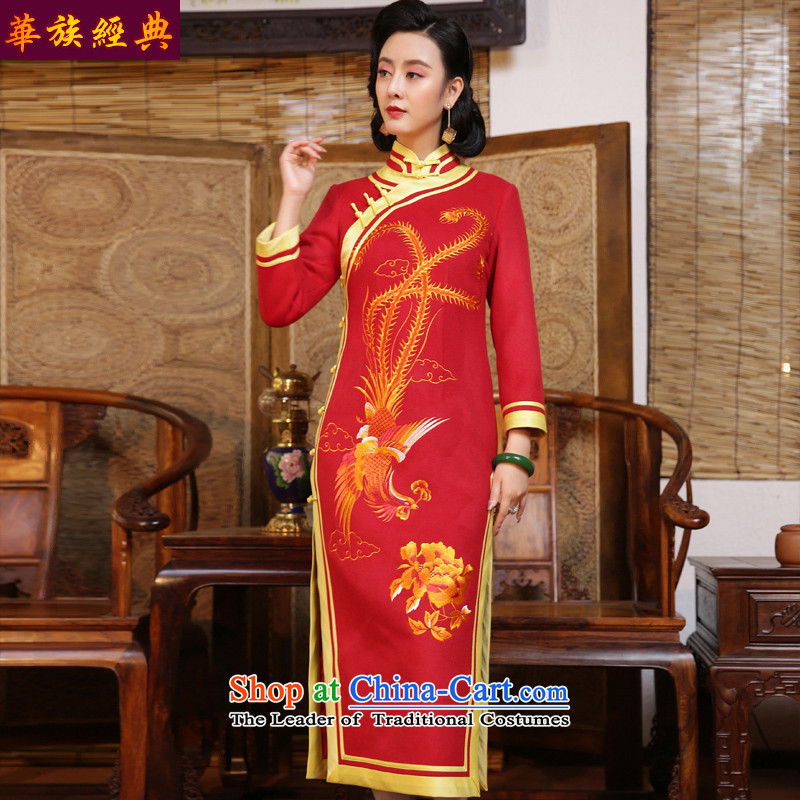 Chinese Classic double-side-red marriage ceremonies brides embroidery Qipao Length of autumn and winter dresses Chinese Dress Red - pre-sale燲XXL 15 Days