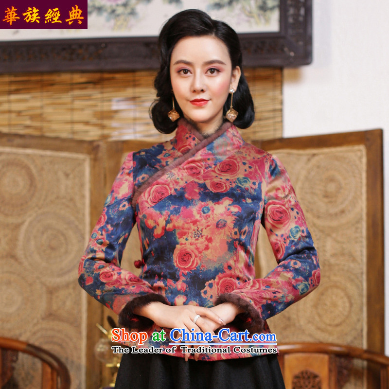 China Ethnic classic silk and cotton yarn folder cloud of incense thick Tang Dynasty of Korea wind women improved CHINESE CHEONGSAM shirt autumn and winter suit - pre-sale燲XXL 15 Days