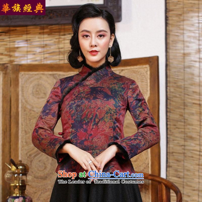 China Ethnic classic silk and cotton yarn folder cloud of incense thick Tang Dynasty of Korea Women's improved qipao wind jacket for winter 2015 suit - 15 days pre-sale XL