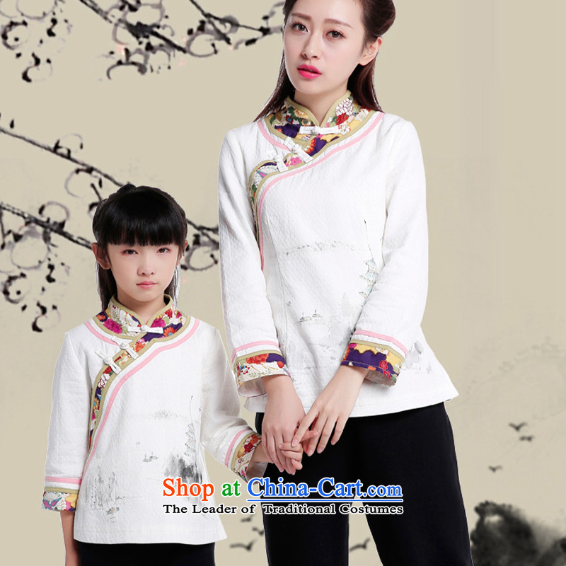 Ms. Tang dynasty autumn and winter jackets China wind retro Chinese women's long-sleeved improved Han-retro qipao shirt color pictures of children's wear聽L