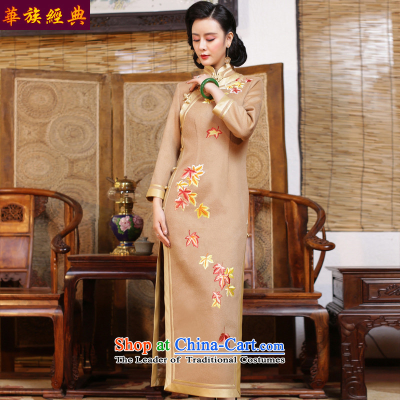 Chinese classic elegance of Sau San duplex-Embroidered Ms. long-sleeved qipao? skirt 2015 new autumn and winter improved stylish beige - 15 days pre-sale燣