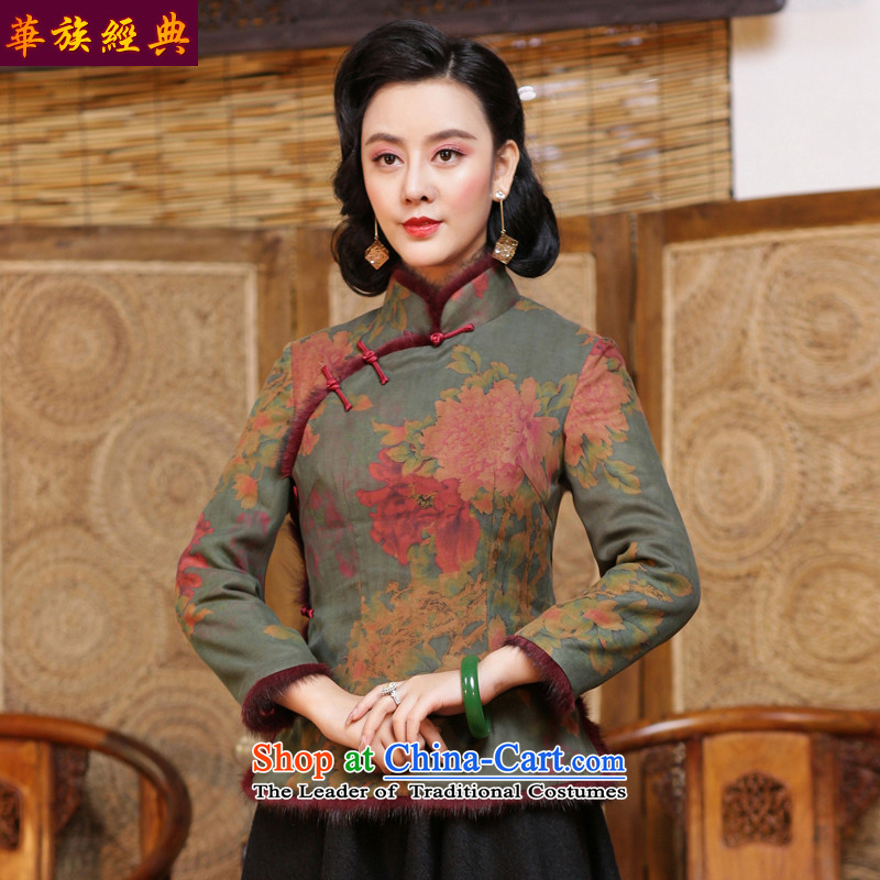 China Ethnic classic silk silk textile yarn Tang dynasty cloud of incense, stylish shirt qipao improved chinese women Fall_Winter Collections suit - 15 days pre-sale S