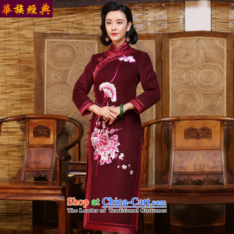 Chinese Classic double-side thickened the serb cheongsam dress upscale embroidered new 2015 autumn and winter improved Chinese Dress dark red - 15 days pre-sale燬