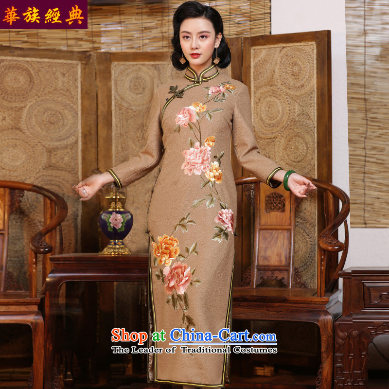 Chinese Classic embroidery retro-arts gross? Tang dynasty cheongsam dress retro female Chinese improved 2015 Fall/Winter Collections suit - 15 days pre-sale XXL
