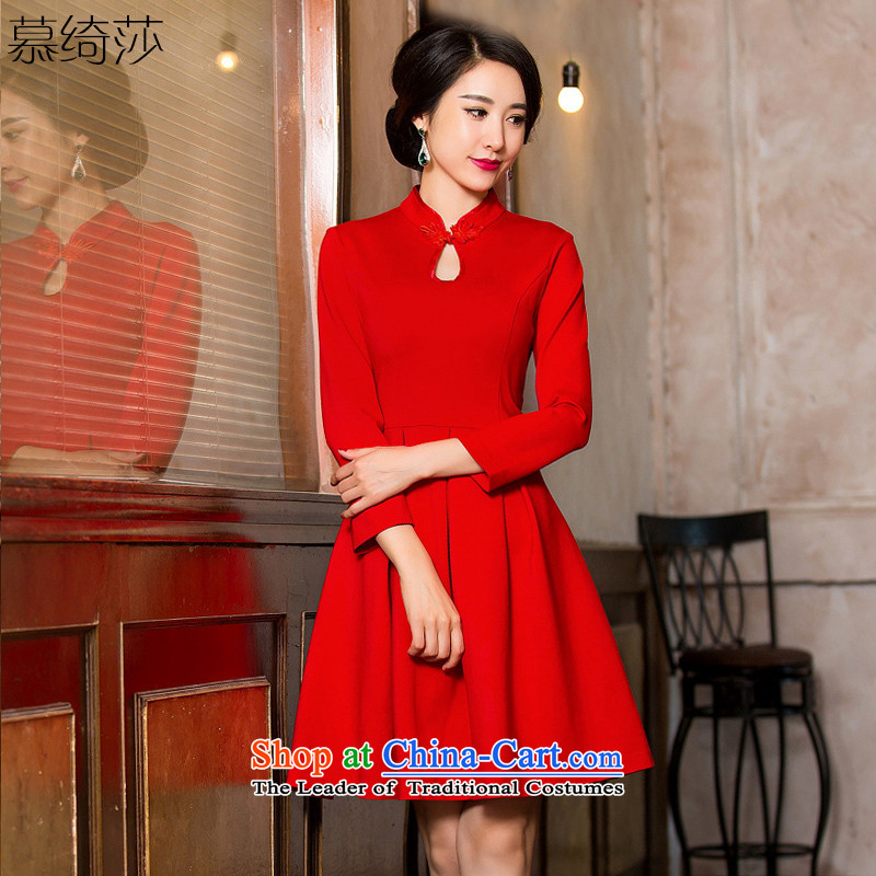 The cross-sa temperature of autumn and winter new cheongsam dress arts collar cotton quality improvement day-to-day long-sleeved cheongsam dress Sau San燞Y 53-61 22燫ed�L