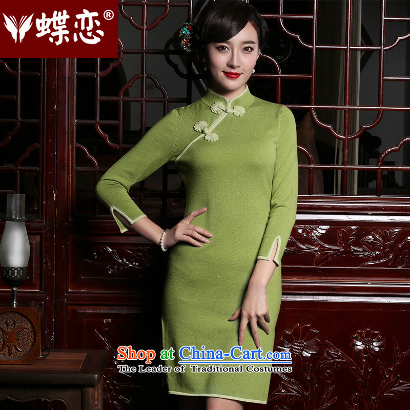 The Butterfly Lovers 2015 Fall_Winter Collections new retro wool cheongsam dress improved wear long-sleeved qipao stylish light green聽XL