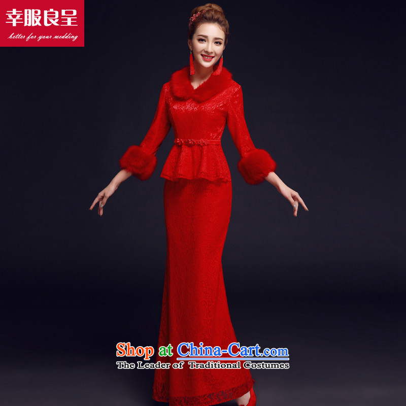 The privilege of serving-leung bows to load the bride red winter cheongsam Chinese wedding dress long-sleeved retro long red燣-42