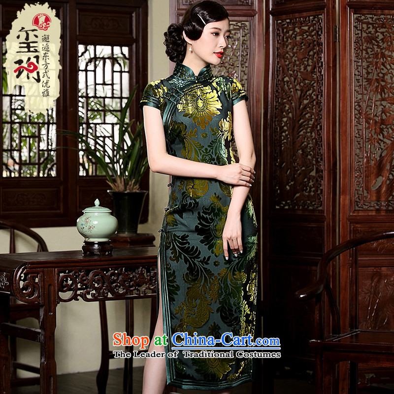The seal of the new Silk burned down improved long qipao gown annual meeting of nostalgia for the high-end model mother dresses green燲XL
