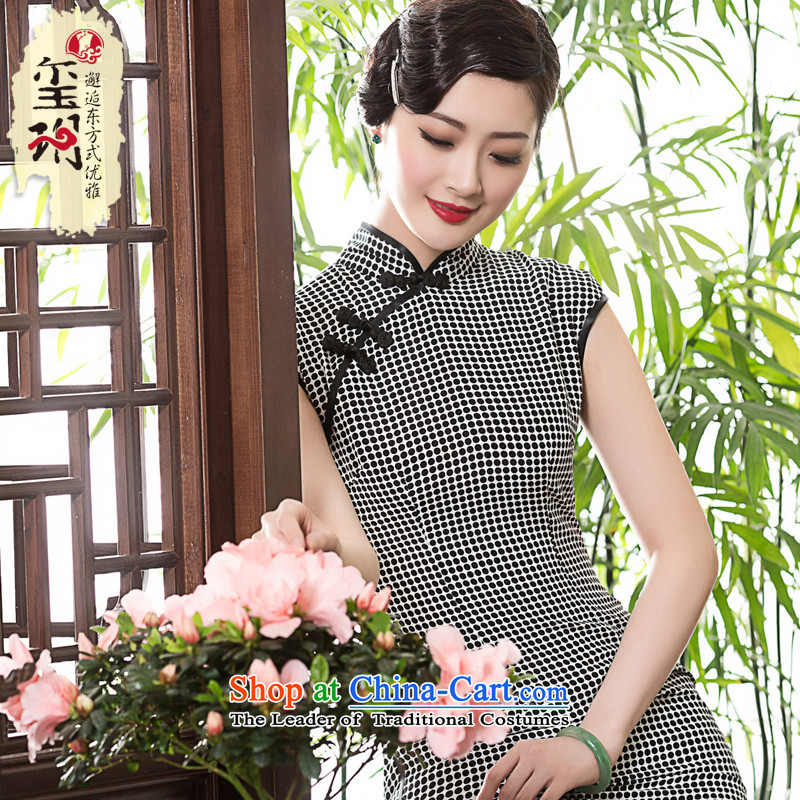 The Seal of 2015 chidori grid long silk cheongsam dress elegant Chinese daily, the Republic of Korea cheongsam dress photo color L