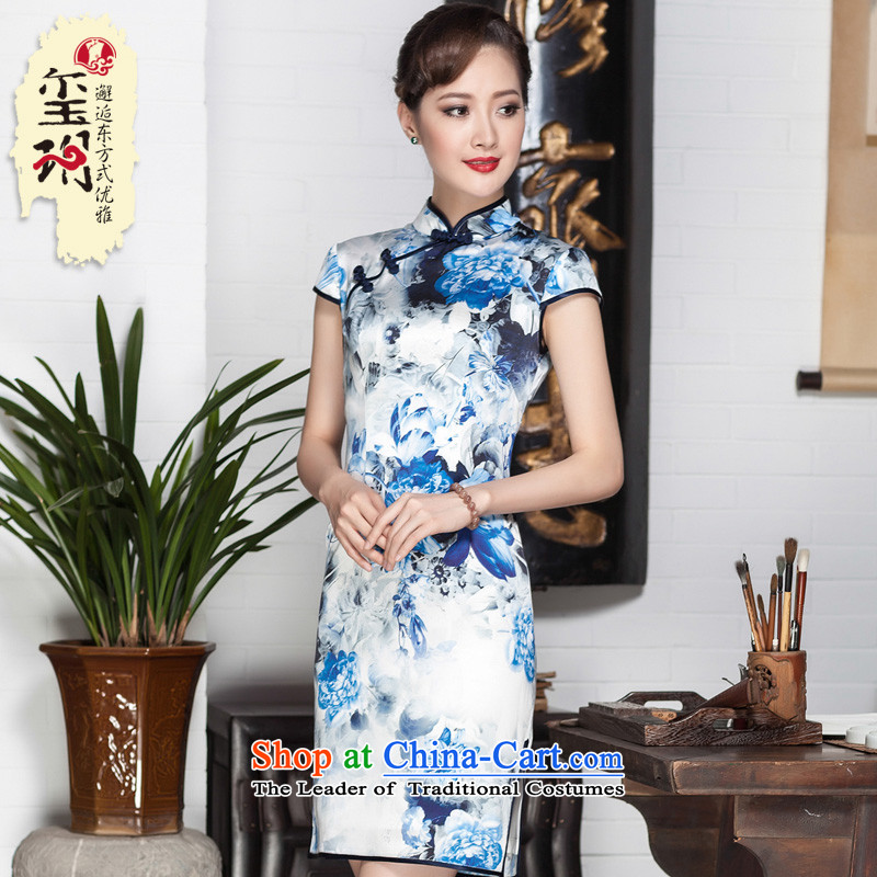 Seal of a new summer 2015 high-end heavy Silk Cheongsam porcelain stamp herbs extract flag female robe skirt picture color�M