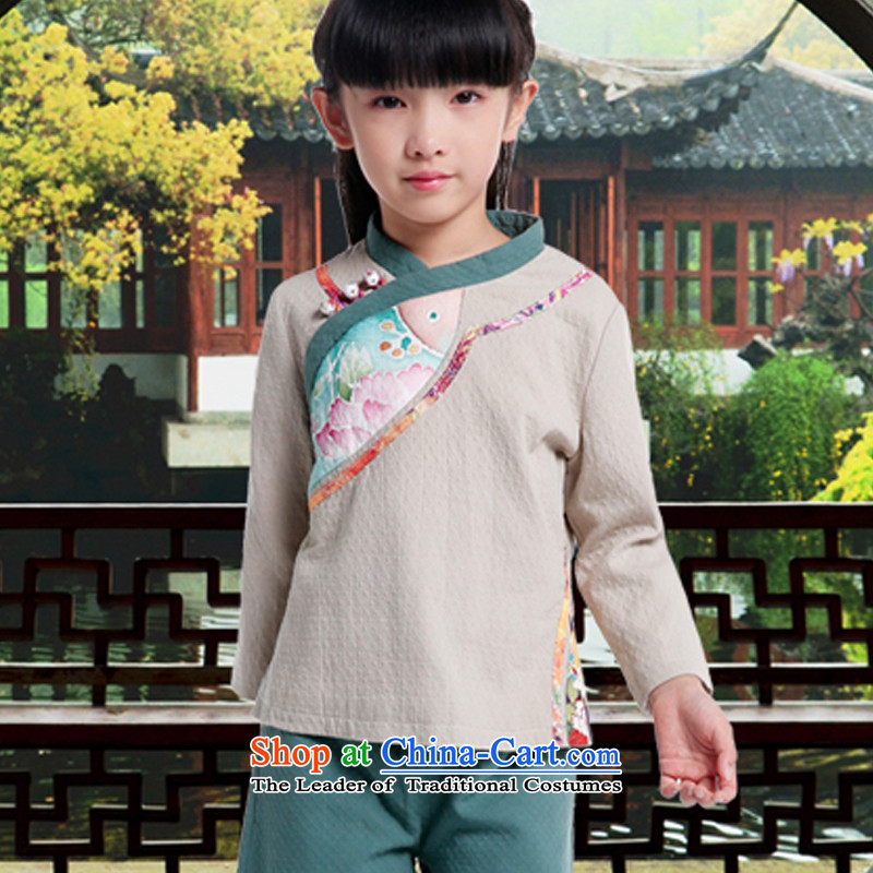 Tang dynasty women 2015 winter coat Chinese clothing female large Chinese tea was serving a long-sleeved shirt qipao cotton linen color pictures of children under the age of 11 children 145cm