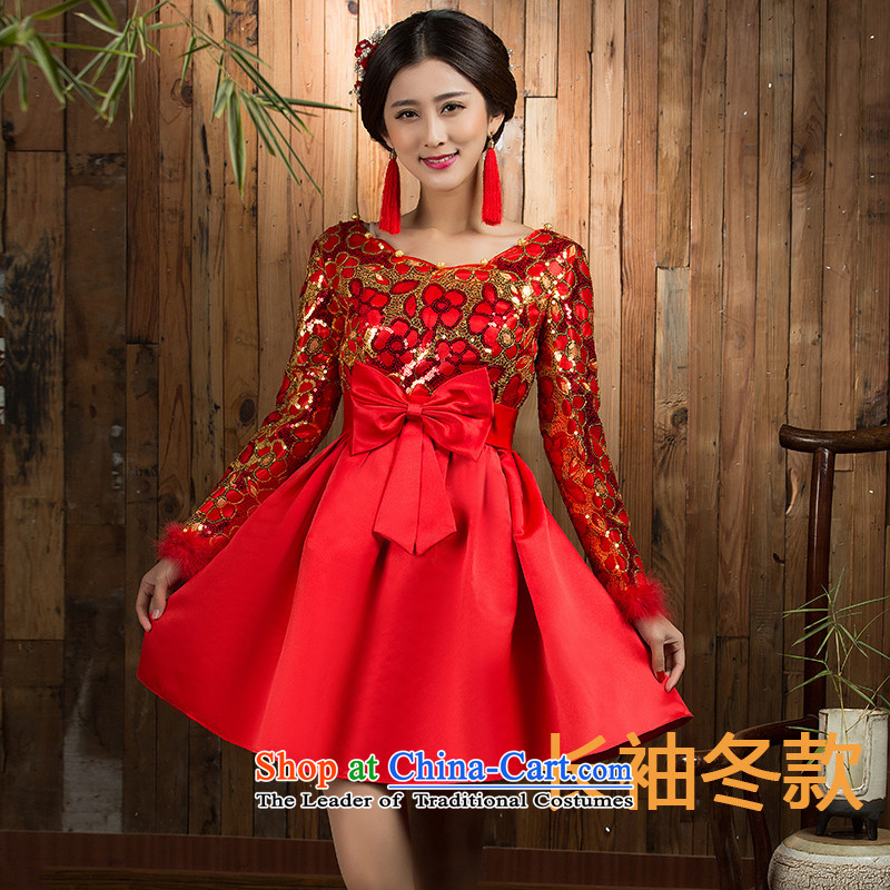 2015 Autumn and winter clothing qipao high toasting champagne pregnant women waist large red Wedding Dress Short-sleeved, 7 long-sleeved winter of Qipao bride�6XL