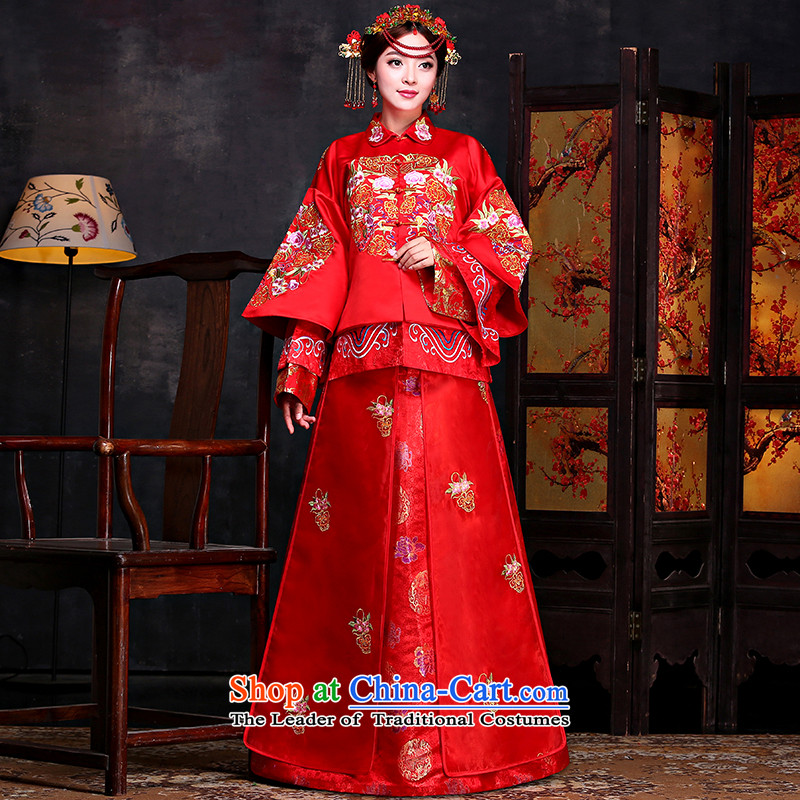 Sepia Chinese classics to the southern bride dress marriage services red dragon qipao bows should start with the wedding dress Sau Wo Service RED M