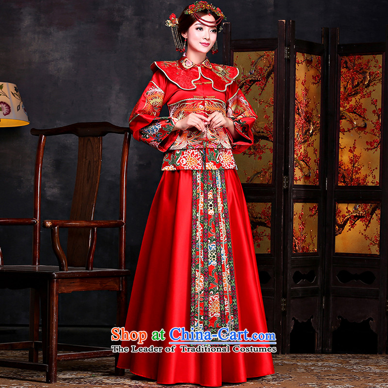 Sau Wo Service retro-wo service brides Chinese wedding dress uniform red dragon qipao bows should start with the wedding dress red聽S