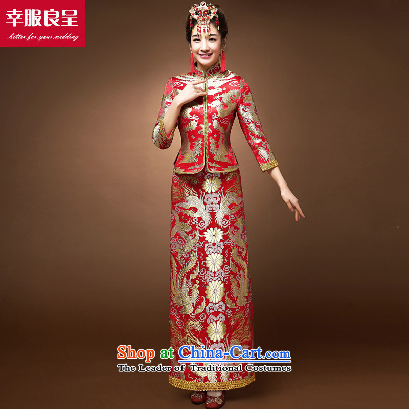 The privilege of serving the dragon and the use of the bride-leung bows services qipao Soo Wo Service Chinese wedding dress wedding dress use skirt the dragon cheongsam + model with 68 Head Ornaments�L