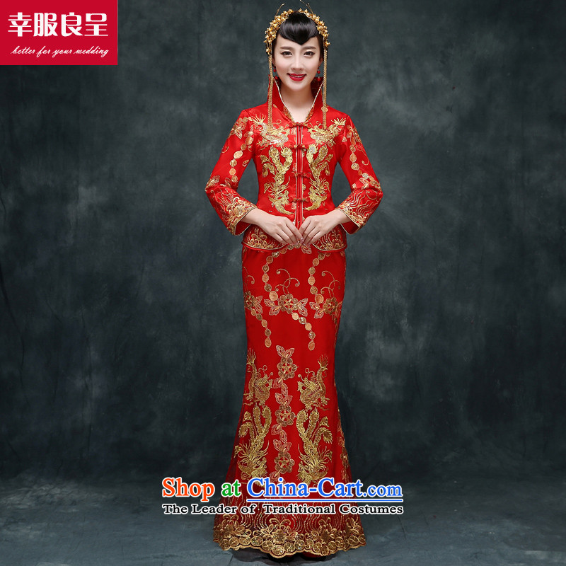 The privilege of serving the dragon-leung also serving long) bows bride winter new retro qipao wedding dress Soo-wo services use a score of 9 to the dragon cuff + model with 158 Head Ornaments�2XL