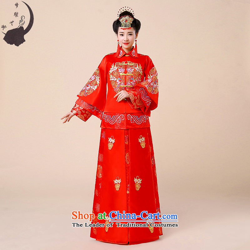 Sau Wo Service bridal dresses Chinese wedding dress autumn 2015 new bows wedding dress qipao Soo kimono red retro?M?chest around 95