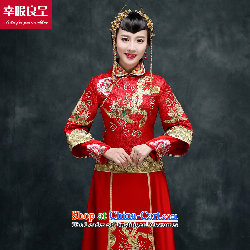 The privilege of serving-leung SOO wo service use the dragon bride wedding dress ancient Chinese wedding gown wedding long service qipao Sau Wo bows Services + model with 158 Head Ornaments聽2XL