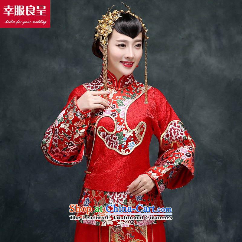 The privilege of serving Liang Su-wo service flashes red Chinese wedding dress bows service wedding dress girl brides qipao Soo-Tang dynasty and long-sleeved Soo Wo Service Model with + 158 Head Ornaments 2XL