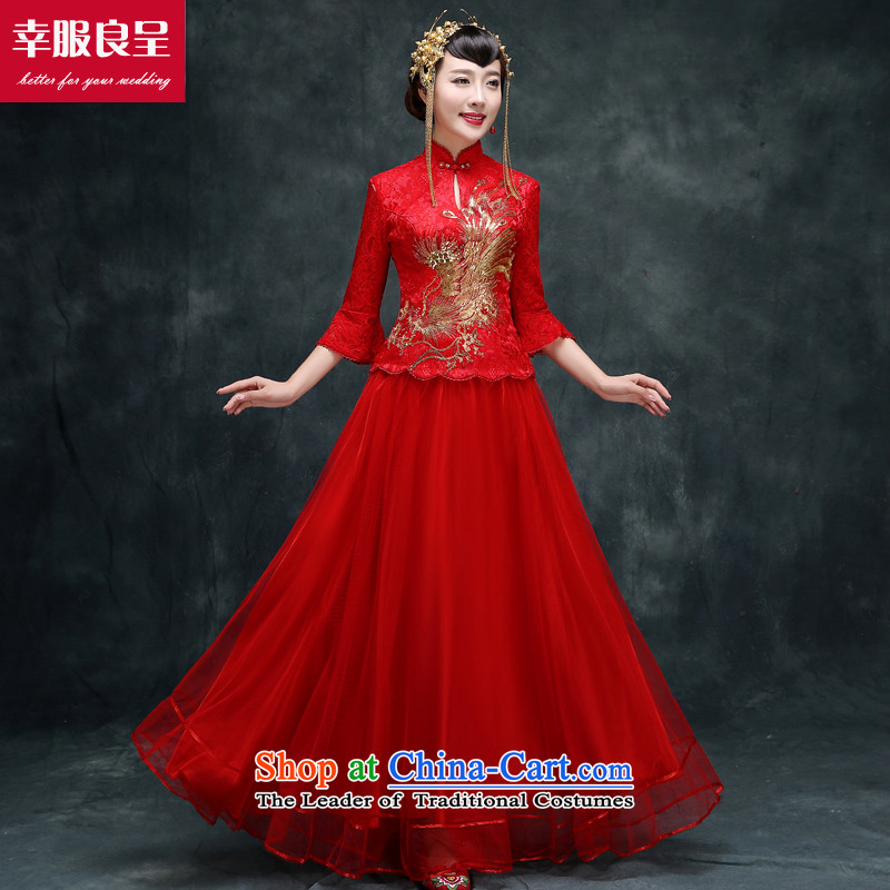 The privilege of serving good red Chinese qipao bows Service Bridal wedding dress retro improved long long-sleeved large stylish code 7 cuff long skirt + model with 158 Head Ornaments燲L