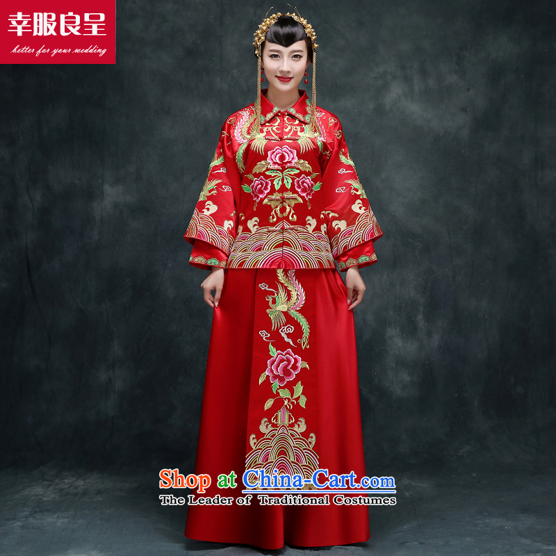 The privilege of serving-leung bows services qipao Chinese wedding gown in Sau Wo Service Soo-bride kimono Wedding dress-hi-back door onto Sau Wo Service Model with + 158 Head Ornaments燤