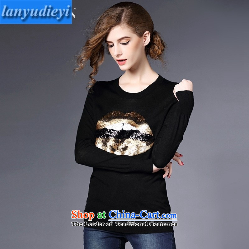 The main European site fall 2015 new long-sleeved light decorated with lips Sau San knitted T-shirts female gray燬