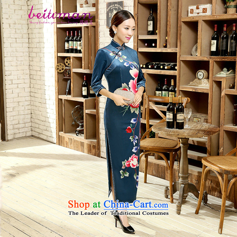 Mrs Ingrid Yeung economy Overgrown Tomb Tang dynasty women cheongsam positioning poster Stretch Wool collar manually Kim detained seven long-sleeved cheongsam dress�T0012�figure�XXL