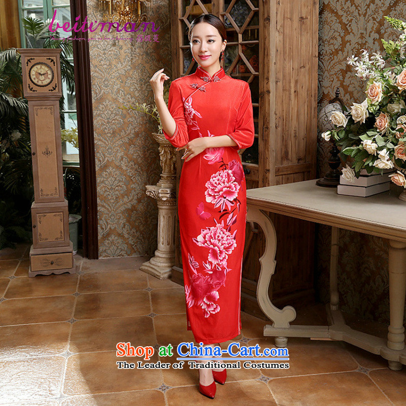 Mrs Ingrid Yeung economy Overgrown Tomb female Tang Dynasty Chinese cheongsam classical Mock-neck manually allotted seven points cuff pressure Kim scouring pads cheongsam dress�T0015 female�figure�XXXL