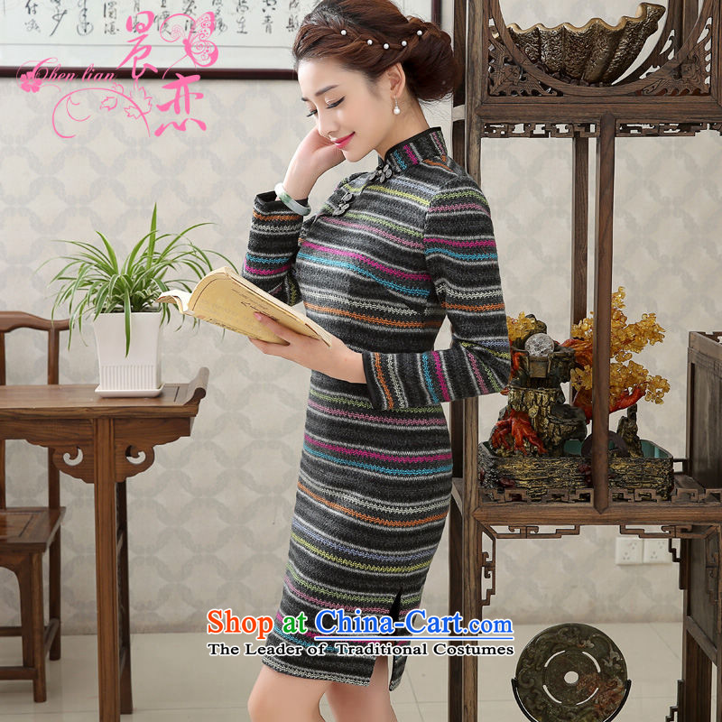 Land 2015 autumn and winter morning with new stylish improved retro-to-day qipao long-sleeved short bag and wool skirt燲XL streaks?